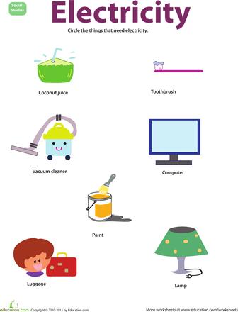 things that use electricity kindergarten science worksheets and kindergarten. Black Bedroom Furniture Sets. Home Design Ideas