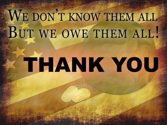 7872784b We don't know them all... but we owe them all! THANK YOU! Happy Memorial  Day!