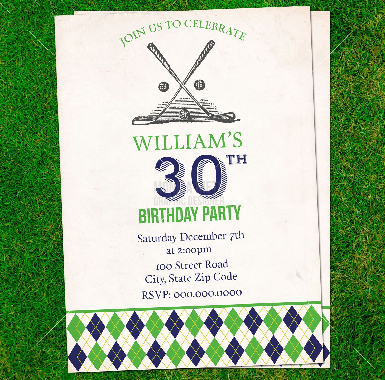 Printable Vintage Golf Birthday Invitation by MonicaGraphicDesign