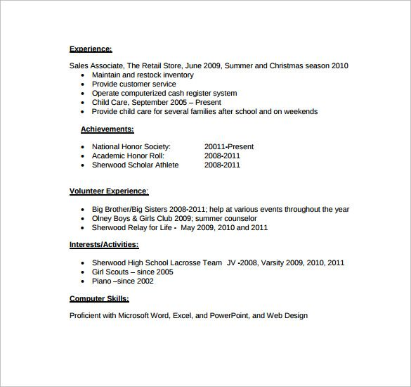 resume for high school student template college activities with - free student resume templates
