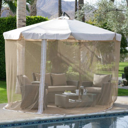 Coral Coast 11 Ft. Offset Umbrella With Detachable Netting   Patio Umbrellas  At Hayneedle