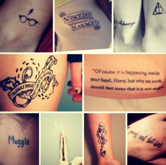 Harry Potter tattoos. I will have one, someday. Either the top right deathly hallows sign or Always with a deathly hallows sign.