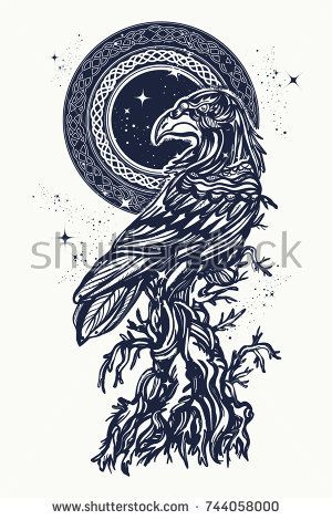 Raven And Old Tree Tattoo T Shirt Design Symbol Of Gothic Halloween Fear Celtic On An Ancient