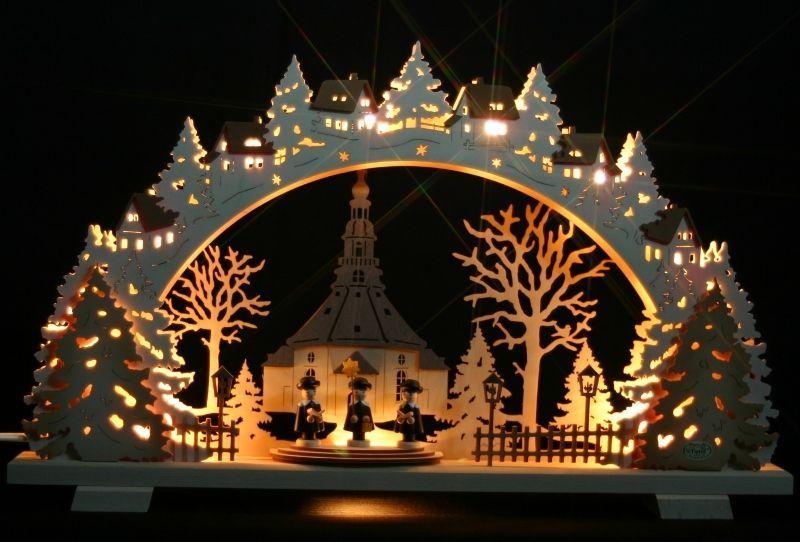 Weihnachtsbeleuchtung Lichterbogen.3d Schwibbogen Seiffen Kirche Kurrende 52x32cm Erzgebirge