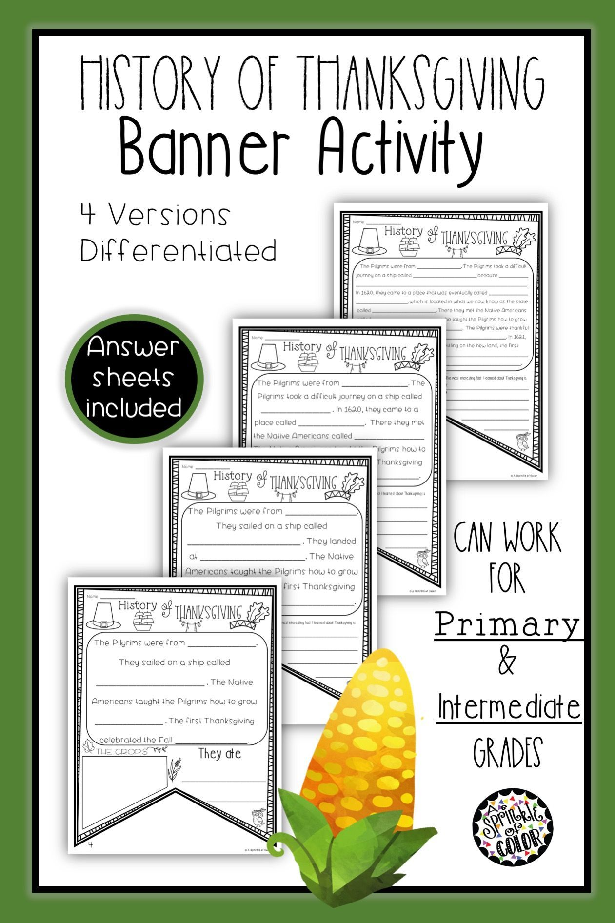 History Of Thanksgiving Flag Worksheet