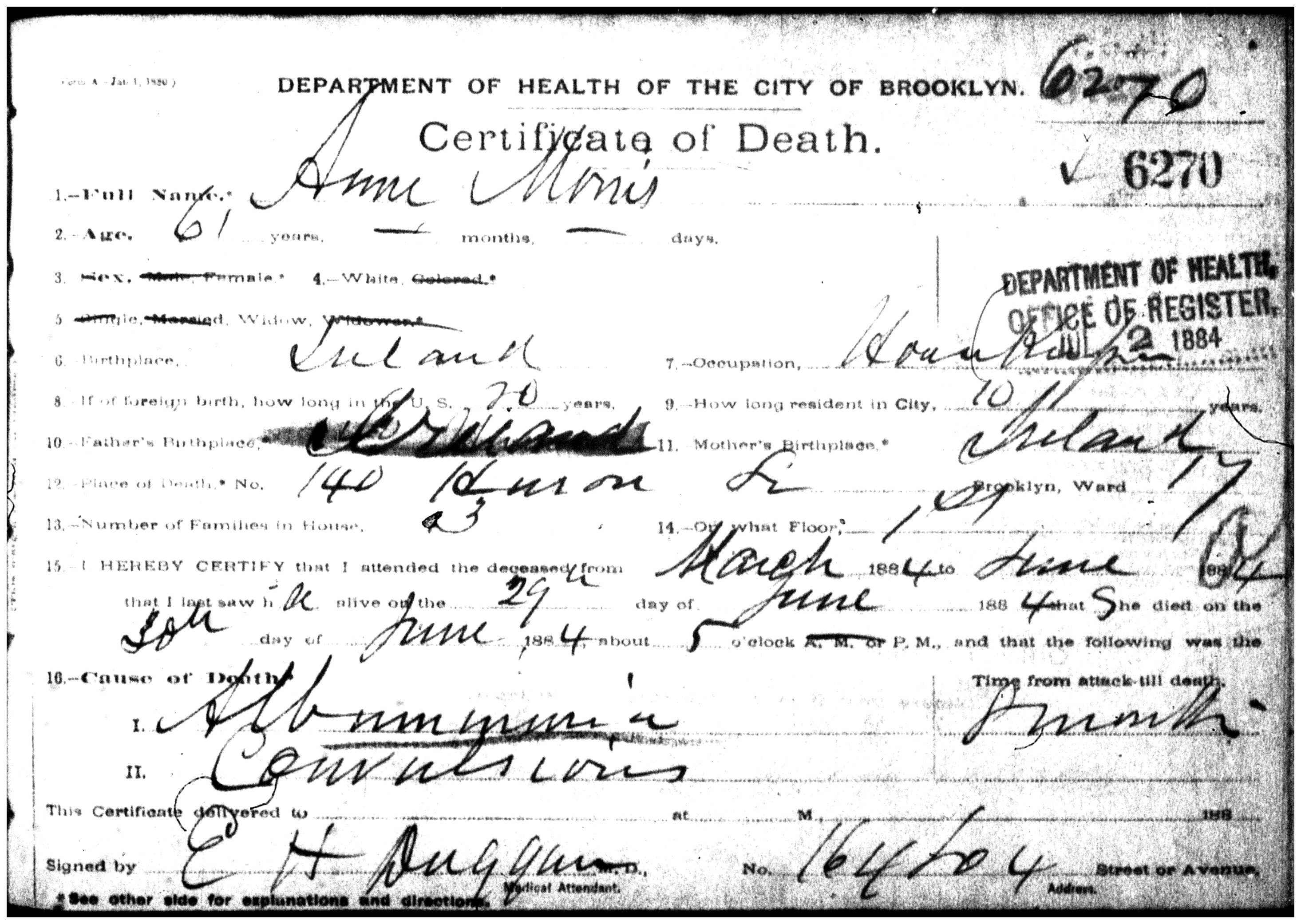 Manhattan death certificate thomas morris morris thomas died 15 manhattan death certificate thomas morris morris thomas died 15 july 1883 manhattan certificate 464742 aged 55 son of edward mary pinterest 1betcityfo Images