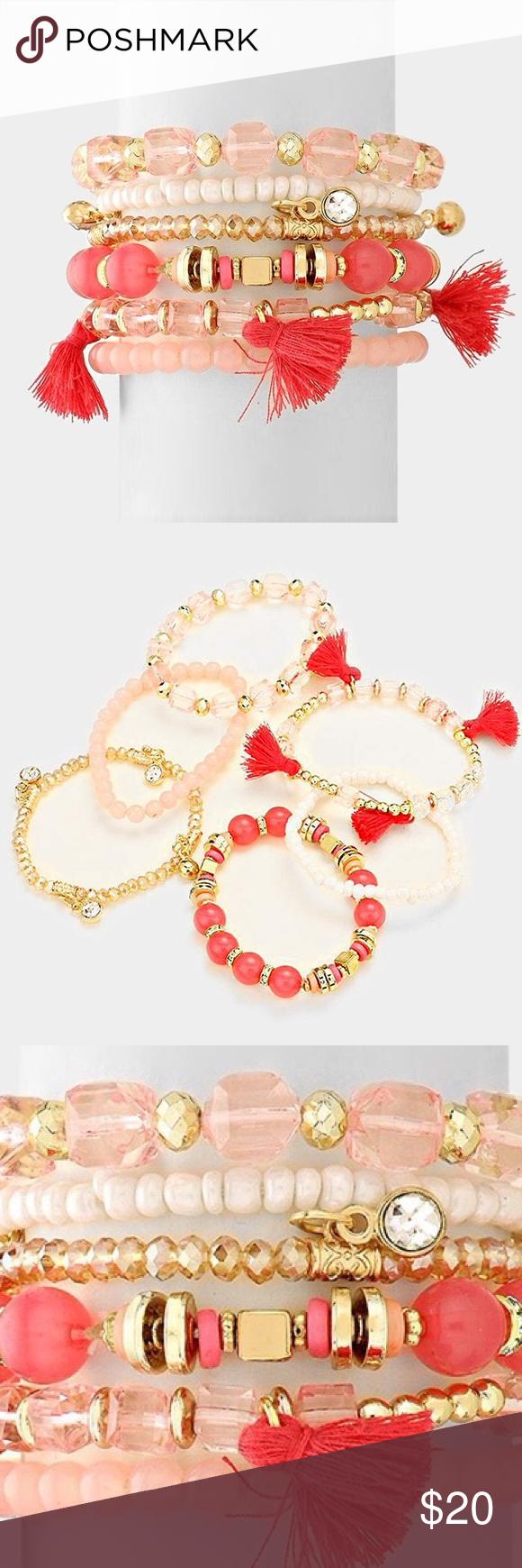 """6PC Bracelet Set - PRICE FIRM! [grandavenue: 318852] • Color : Gold, Pink • Theme : Tassel  • Size : 1.5"""" H • Stretchable • 6 PCS - tassel station beaded stack stretch bracelets Jewelry Bracelets"""