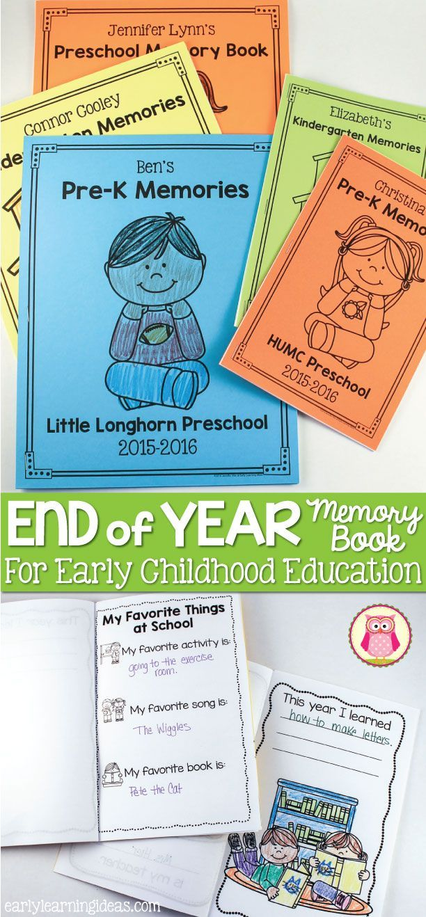 End of the Year Memory Book for Preschool, Pre-k, and Early ...