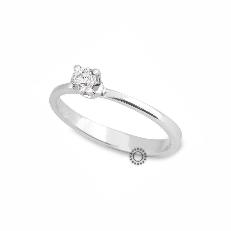 b95851dd05 Μονόπετρο δαχτυλίδι με διαμάντι σε κοπή μπριγιάν από λευκόχρυσο Κ18