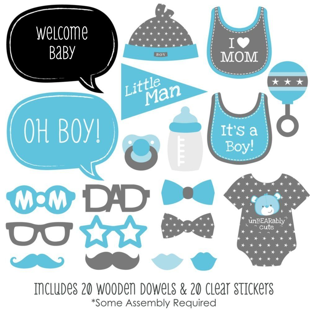Baby Boy Baby Shower Photo Booth Props Kit 20 Count Clip Art