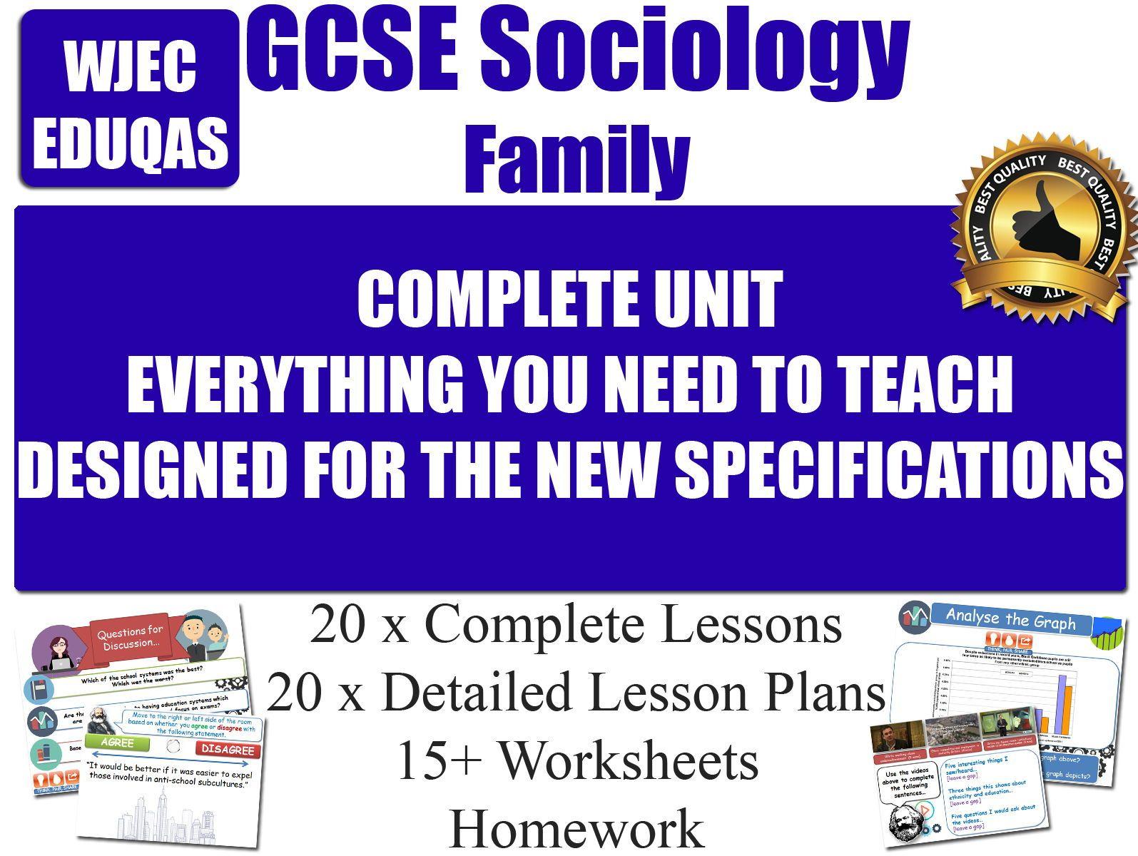 Sociology Of The Family 20 Lessons Wjec Eduqas Gcse