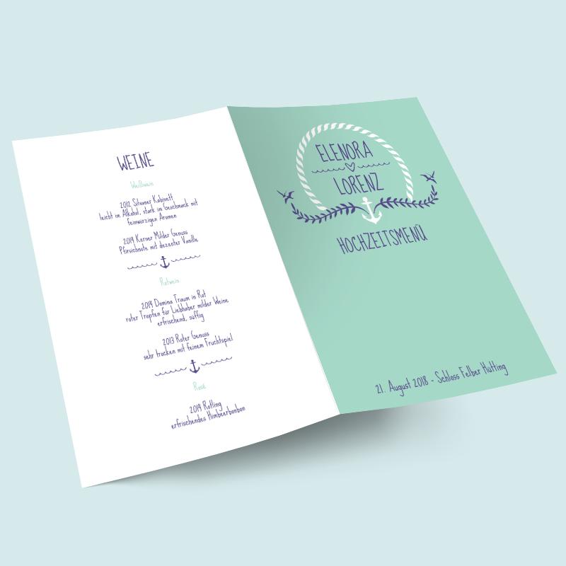 Menükarte Anker Füreinander   Maritime Hochzeits Tischdekoration
