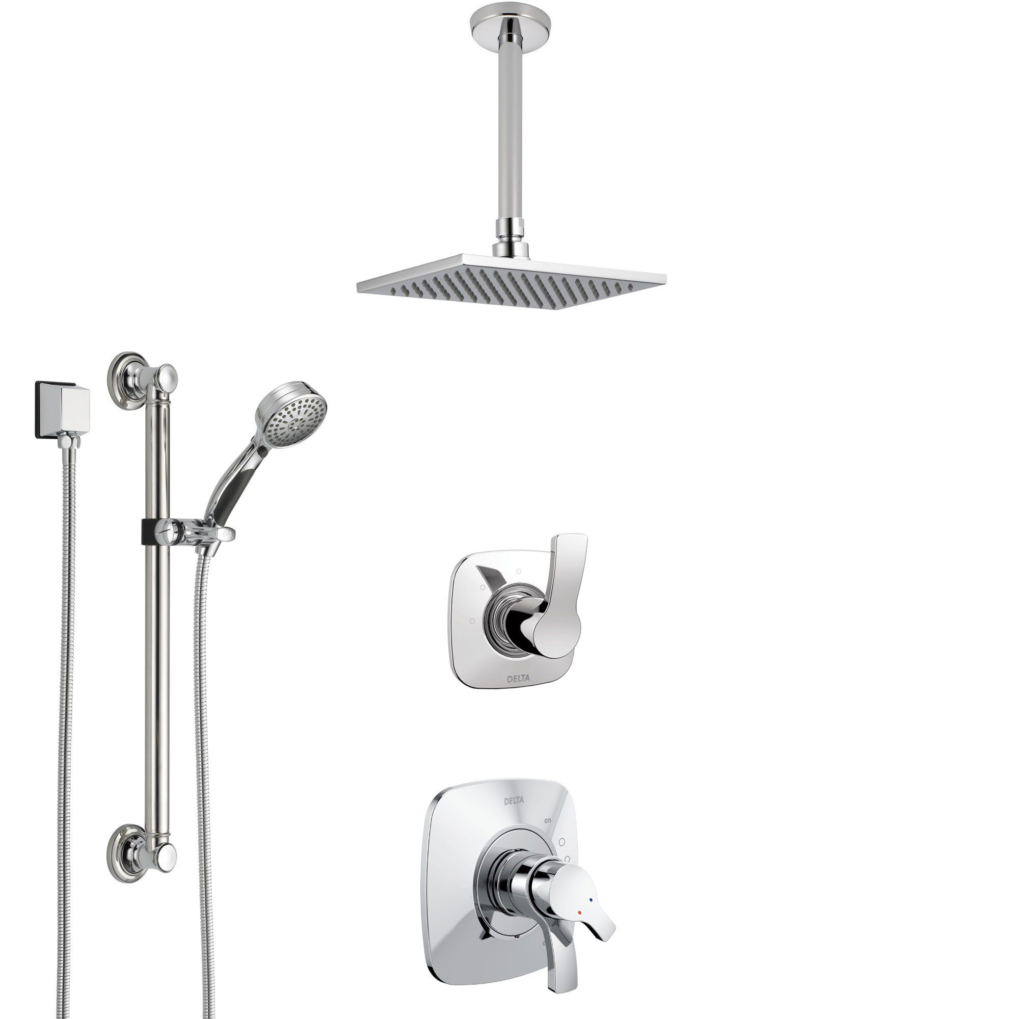 Delta Tesla Chrome Finish Shower System With Dual Control Handle