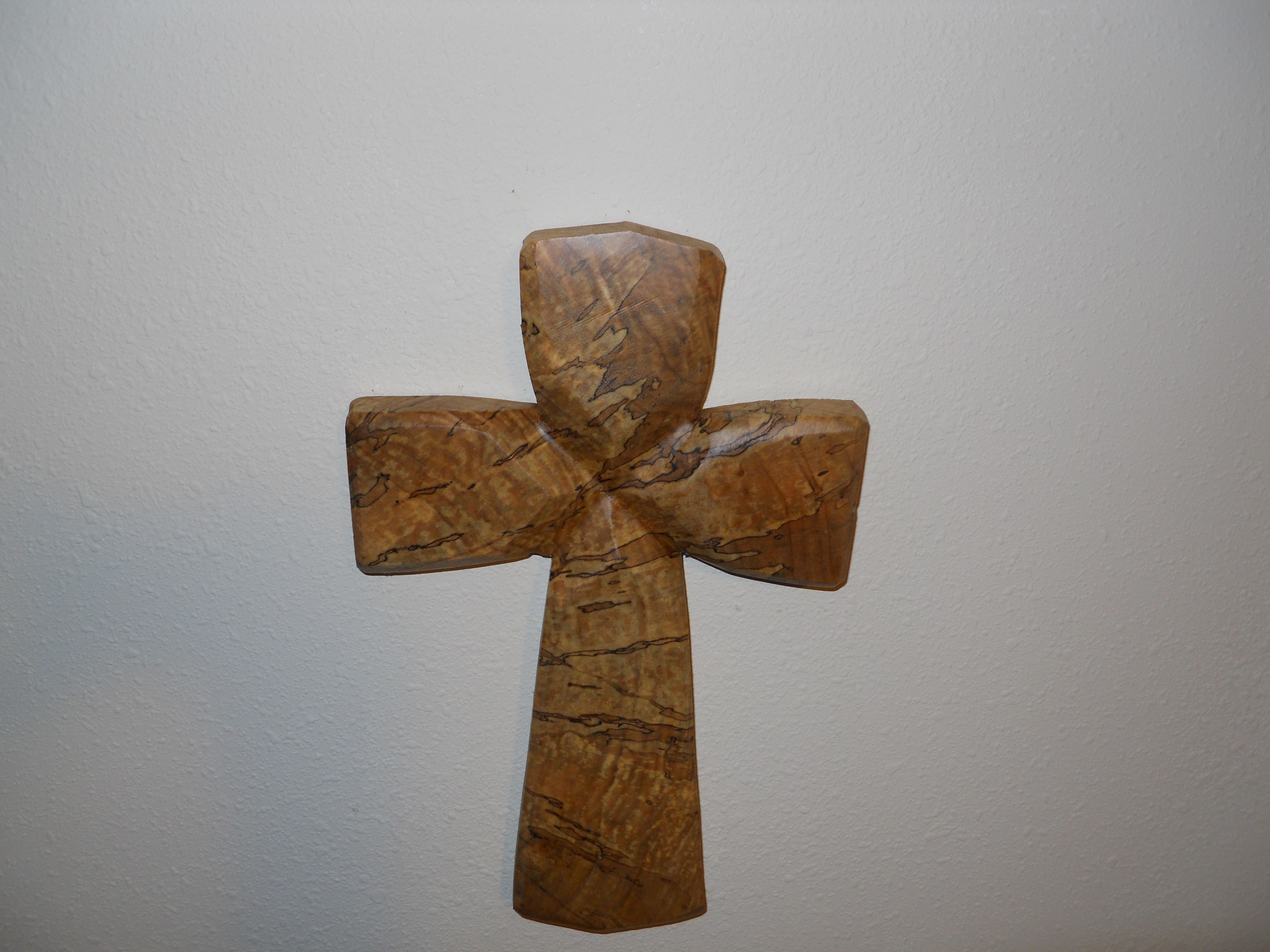 Spalted maple cross chainsaw carved my carvings
