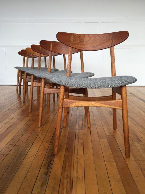 Mediados siglo danesa roble y teca de 6 seis sillas de comedor ...