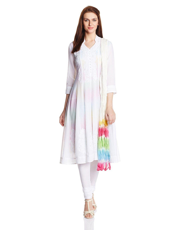 Biba Women's Anarkali Salwar Suit (Skd # 3888_White_34): Amazon.in: Clothing