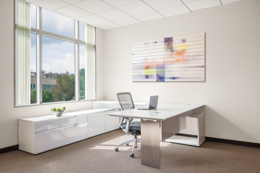 This Modern Office Desk Design Features Floating Or Tiered Components That Provide Dimension A Office Furniture Modern Contemporary Office Desk Desk Design