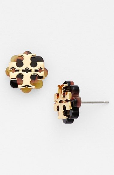 Tory Burch Logo Flower Stud Earrings Available At Nordstrom I Love The Black Gold Ones Best
