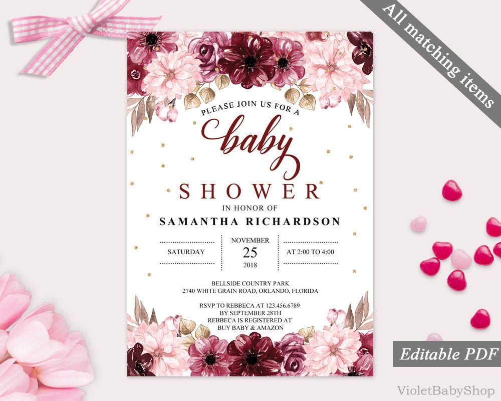 Marsala Burgundy Baby Shower Invitation Template Printable Pink