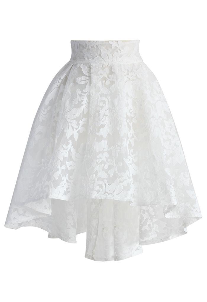 White Camellia Waterfall Mesh Skirt - Retro, Indie and Unique Fashion