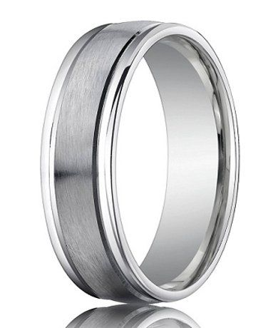 Benchmark Men S Wedding Ring In Palladium Satin Finish 6mm White Gold Wedding Bands Wedding Ring Bands Wedding Bands