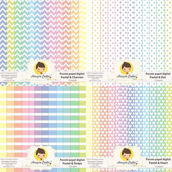 Combo pacote papéis digitais pastel 4 pacotes em um - 48 papéis 50% de desconto Já à venda na loja>> goo.gl/Ja6j1o