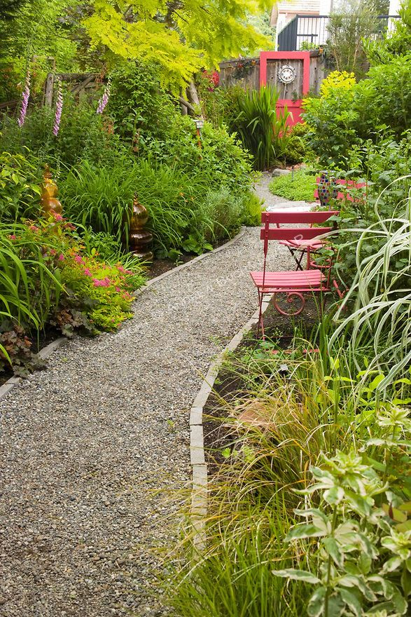kies weg im garten, kiesweg im garten steinbegrenzung pflanzen | gartenwege | pinterest, Design ideen