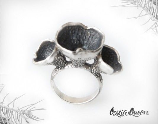 Woodland ring, botanical ring, organic ring silver, sterling silver ring without stones, exclusive design ring, nature jewelry