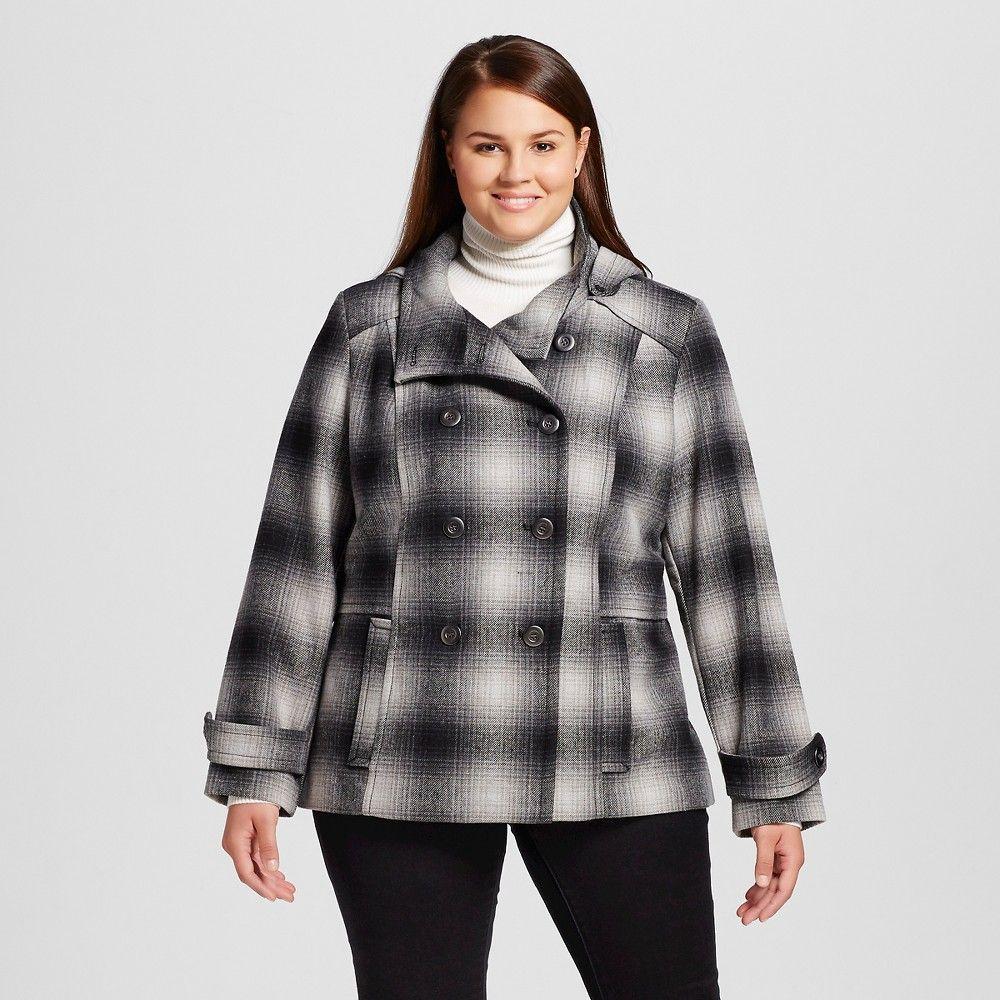 f82d709d4401c Women s Plus Size Plaid Double Breasted Faux Wool Coat Black 2X - Celebrity  Pink