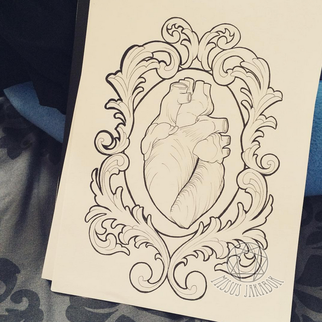 Anatomical Heart in Filigree Frame Tattoo Design by missus-jakabok ...