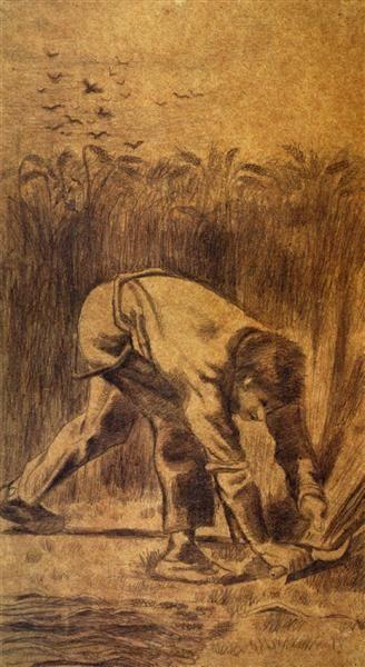 Reaper with Sickle (after Millet) (1881) Vincent van Gogh
