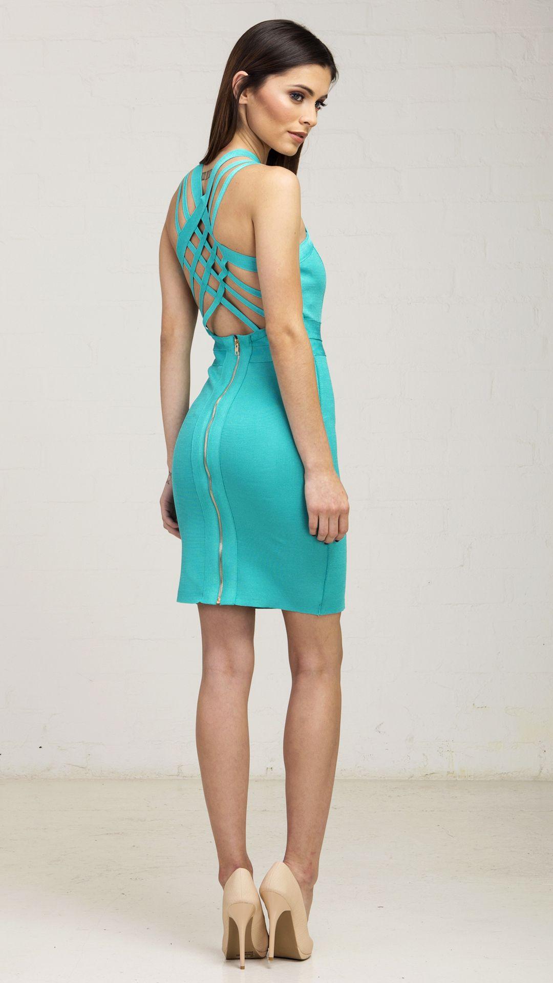 Weaved Back Bandage Teal Dress      formal shop      Pinterest ...