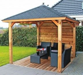 Wooden Gazebo 323 Hipped Roof Felt Tiles Outdoor Wood Gazebo