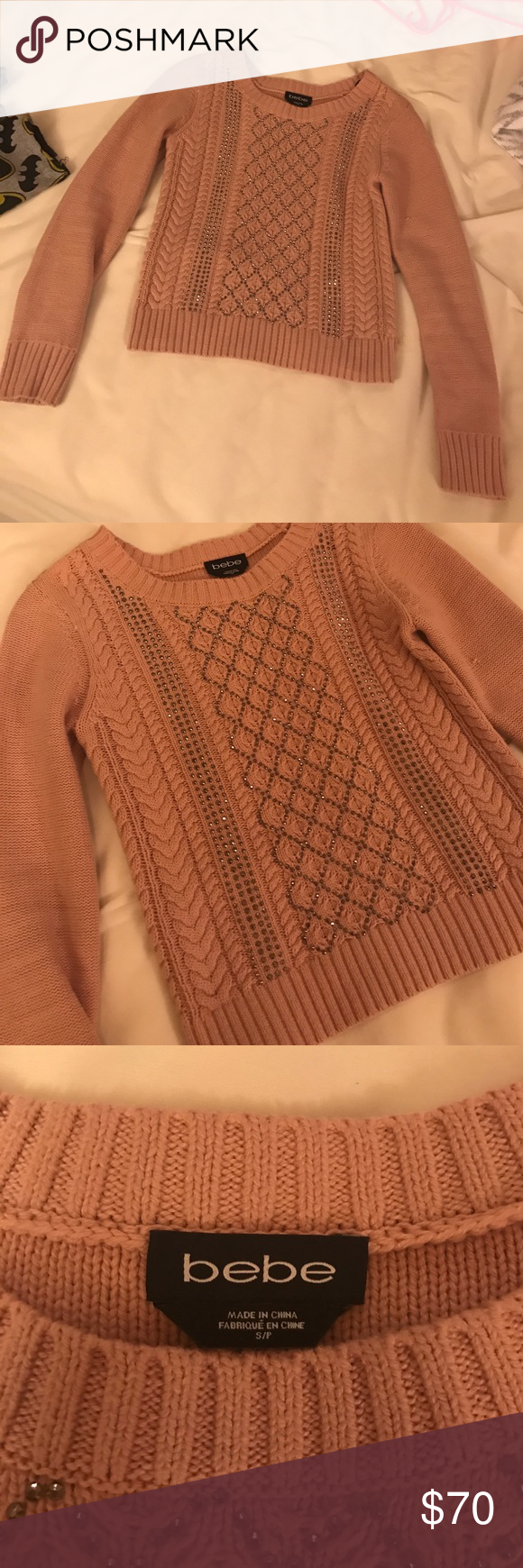 Brand new Bebe embellished sweater Beautiful rose colored cable knit sweater with crystal beading on the front, size small, falls just at the hips, brand new without tags bebe Sweaters Crew & Scoop Necks