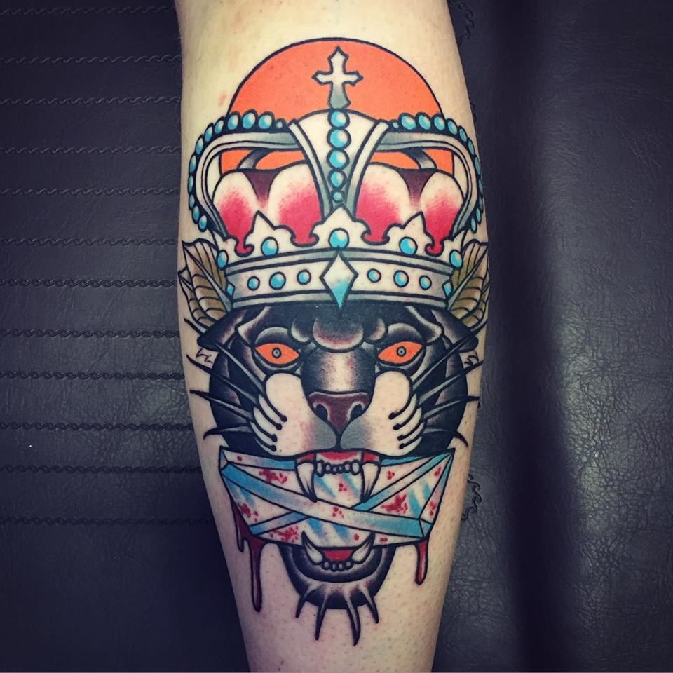 Old school panther tattoo by rique corner oldschool for Old school panther tattoo