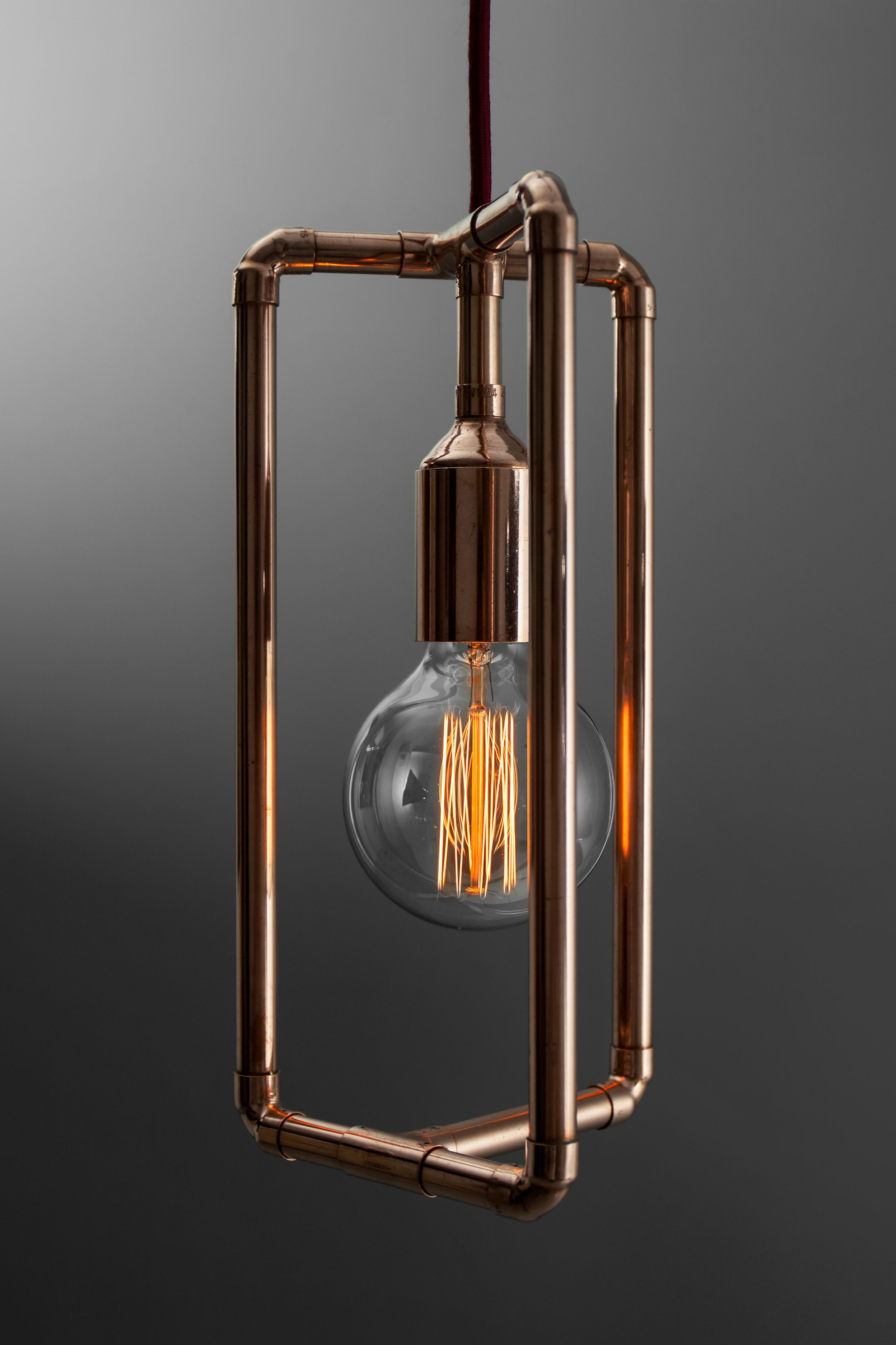 Industrial pendant lamp in trendy copper or gold brass