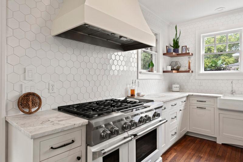 White Hexagon Kitchen Backsplash Fireclay Tile Kitchen