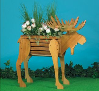 Moose Planter Wood Pattern Add a rustic touch to your deck