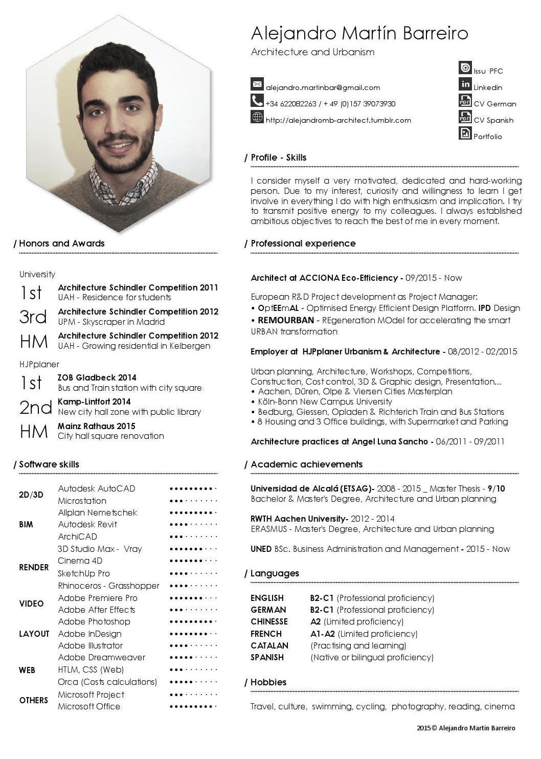 Alejandro Martin Barreiro Cv Architect Portfolio Resume Cv Template Curriculum Vitae