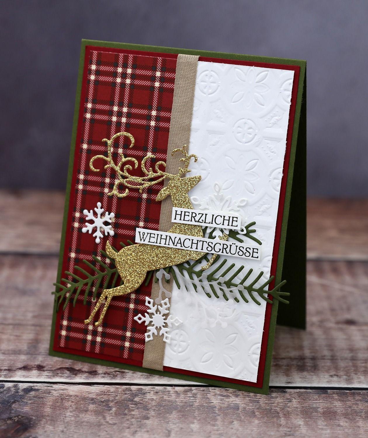 Am letzten Tag von 8 Tage Weihnachten möchte ich noch eine Weihnachtskarte mit dem schönen Set Weihnachtswild von Stampin' Up! zeigen. #reindeerchristmas