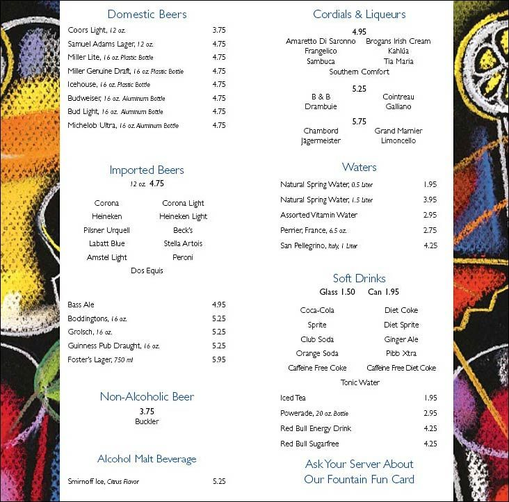 Carnival Ship Prices: Carnival Cruise Line Bar Drink Menu