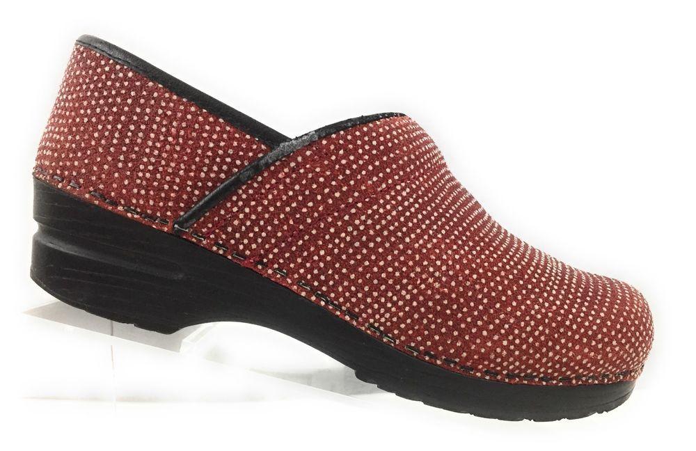 Sanita rosso Professional Donna rosso Sanita Dotted Texturosso Sparkle Clogs Size 38   004ec8