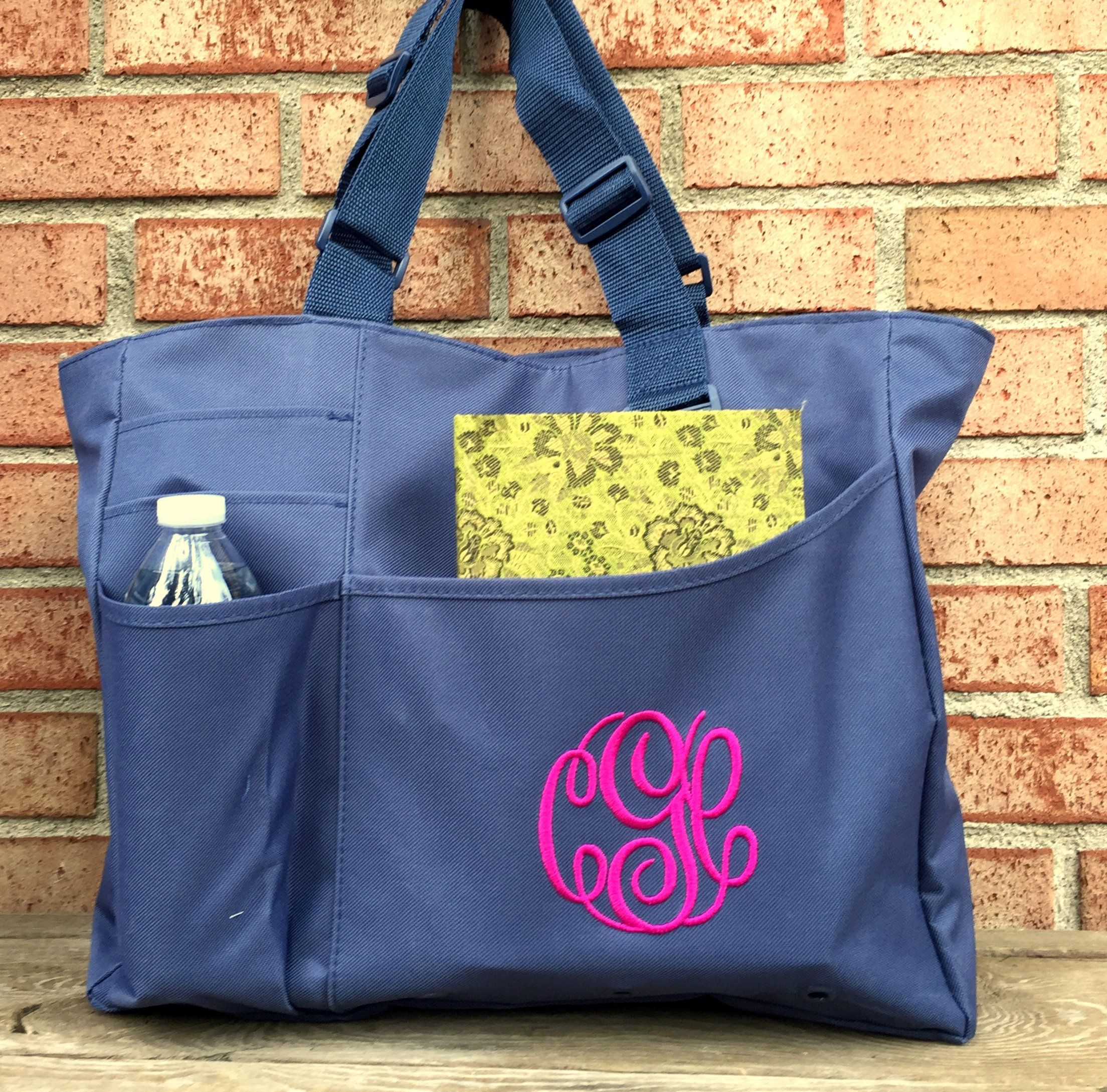 Monogrammed Tote - Solid Color Book Bag - Super Tote - Bridesmaids Bag -  Teacher Bag - Travel Bag - Back to School - End of Year Gift by MJMonograms  on Etsy f4e1b07f2a6dc