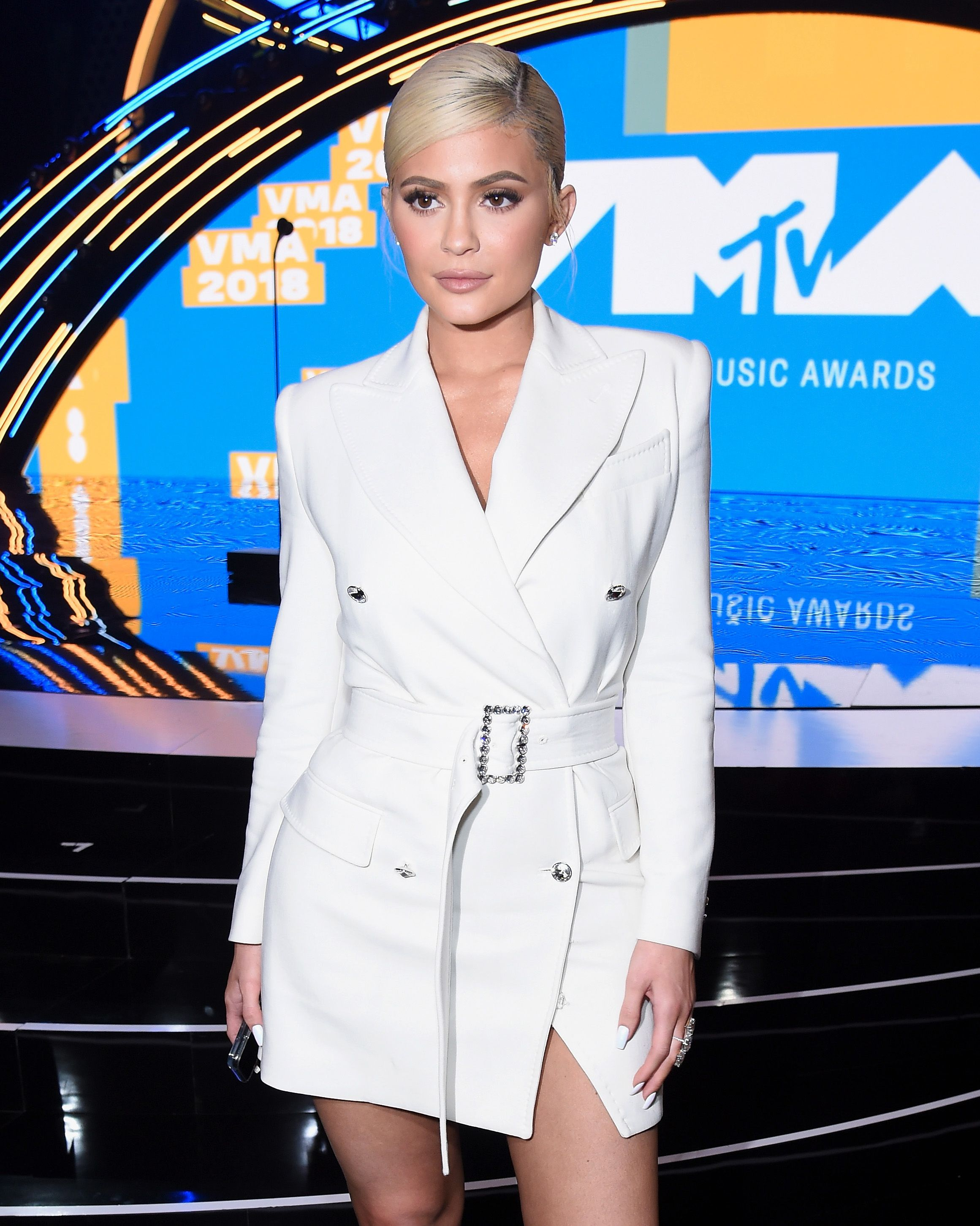 ef14d5a3f69c6 Kylie Jenner wore an ivory TOM FORD Tailored Double Breasted Mini Dress to  the MTV Video Music Awards in New York City.  TOMFORD  VMAs