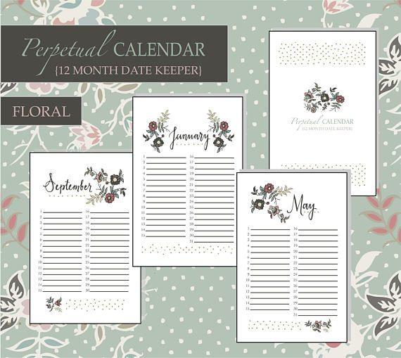 Perpetual Calendar / Date Keeper / Date Organizer / Perpetual Planner / Planner Pages / Calendar / Birthday Dates / Anniversary / Floral