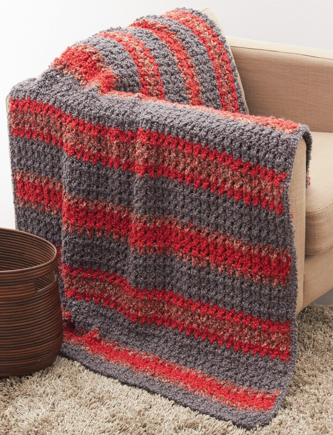 Striped Crochet Afghan in Bernat Soft Boucle. Discover more Patterns ...