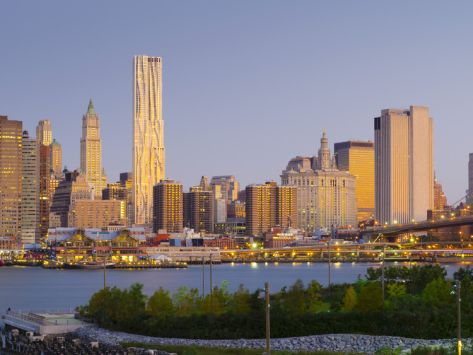 USA, New York, Lower Manhattan, Tallest Building Is Beekman Tower (By Frank Gehry), with Woolworth