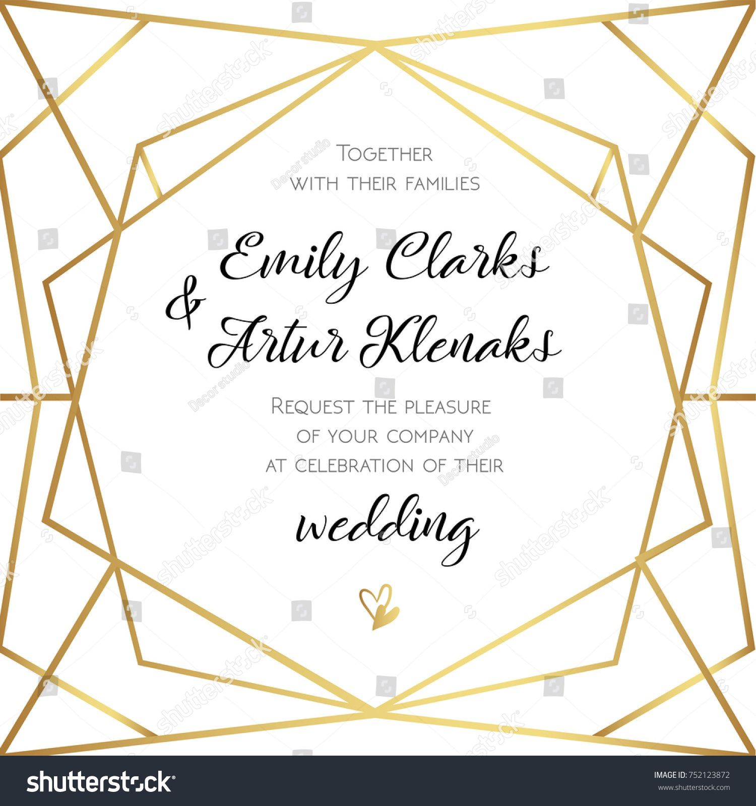 Wedding invitation invite card design with geometrical art lines wedding invitation invite card design with geometrical art lines gold foil border frame stopboris Choice Image