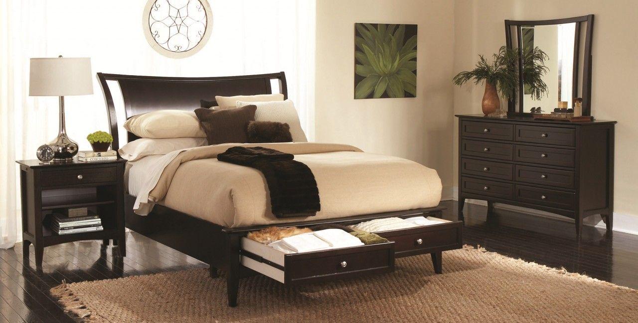Aspenhome Kensington Sleigh Storage Bedroom Set In Java Ikjbr King Bedroom Sets Furniture