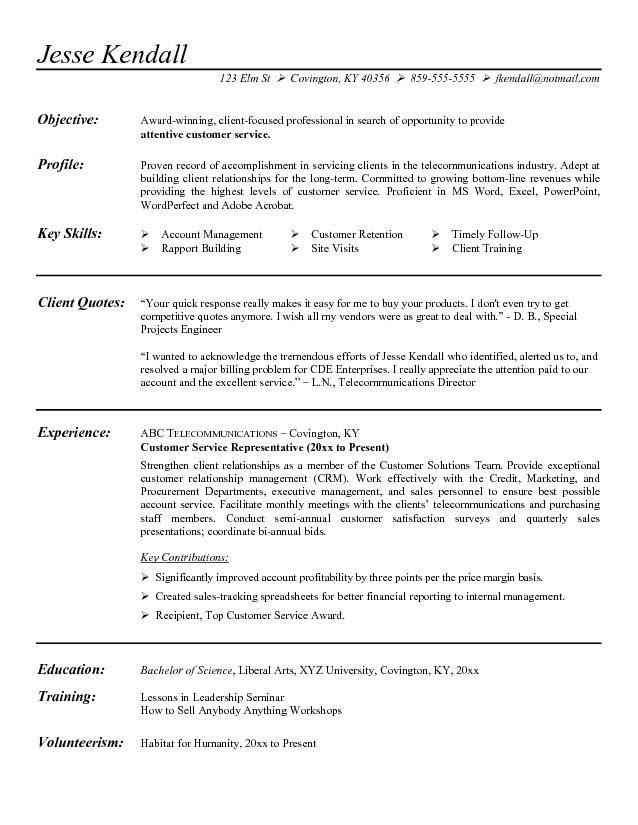 Resume Objectives For Customer Service Free Samples Of Resumes For Customer Service  Httpwww